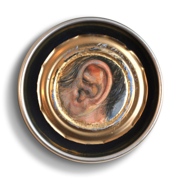 Carrie - egg tempera on can lid - 6 inches